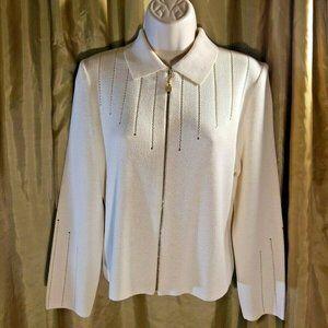 St John by Marie Gray Cream Cardigan Sweater Zip